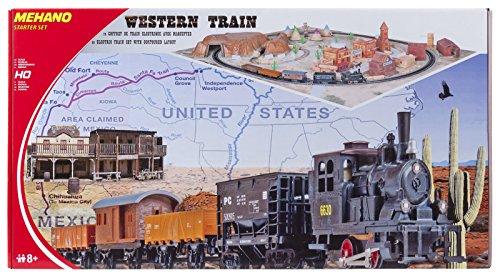 """Mehano T109 -Western Train with layout - Set Trenino Elettrico in Scala H0 con Plastico del Paesaggio """"Western""""."""