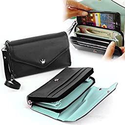 OURS Hot Multifunction Women\'s PU Leather Wristlet Clutch Wallet Cell Phone Handbag (Black)