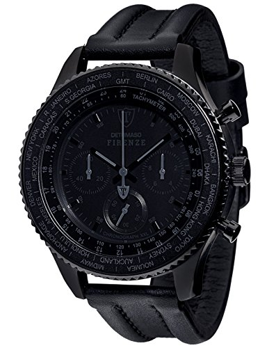 Detomaso Firenze XXL Black Gents Watch Quartz Analogue Chronograph Black Leather Strap DT1045-D