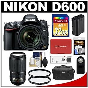 Nikon D600 Digital SLR Camera & 24-85mm VR AF-S Zoom Lens with Nikon 70-300mm VR AF-S Lens + 32GB Card + Case + Battery + Filters + Remote + Accessory Kit