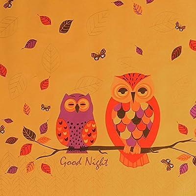 """Wachstuch Tischdecke Wachstischdecke Gartentischdecke, Abwaschbar Meterware, Länge wählbar, """"Good Night Owls"""" Rote Eulen auf gelbem Untergrund (660-00) von MODERNO auf Gartenmöbel von Du und Dein Garten"""