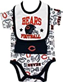 NFL Chicago Bears Boy's Bodysuit, Bib, Cap Set, 3-6 Months, Blue at Amazon.com