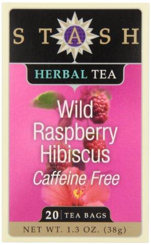 Stash Tea Wild Raspberry Hibiscus Herbal Tea, 20 Count Tea Bags in Foil (Pack of 6)