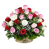 IGP Basket Arrangement of Mix Roses Basket (Bunch of 35)