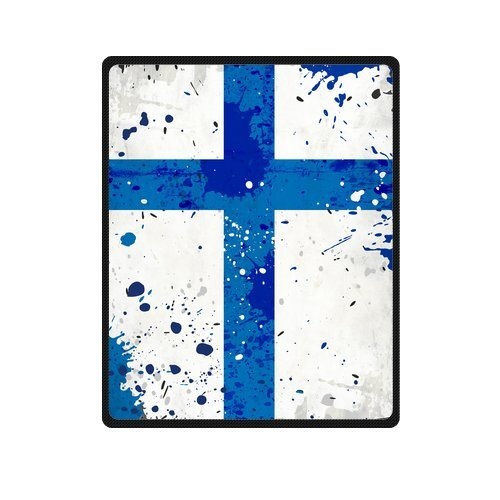 Personalized Fashion Grunge Finland Flag With Stains Cross Sign Picture Fleece Blanket 40 X 50 front-1077068