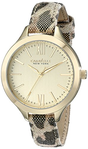 Caravelle by Bulova Women's 37mm Multicolor Leather Band Gold Tone Steel Case Quartz Analog Watch 44L161