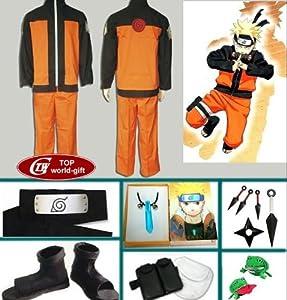 Japanese Anime Naruto Cosplay Uzumaki Naruto Cosplay Costume Naruto Clothes Full Set (M (158-165CM))