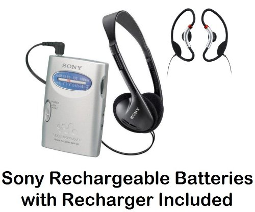 Sony Walkman Portable Lightweight AM/FM Stereo Radio with Belt Clip, Over the Head Stereo Headphones, Soft Loop Active Style On The Ear Headphones & Sony Rechargeable Batteries with Recharger