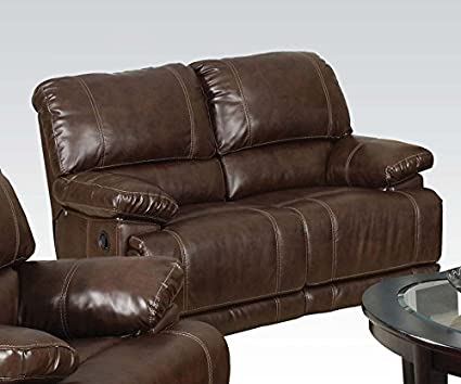 Daishiro Bonded Leather Loveseat with Motion in Chestnut Finish by Acme Furniture