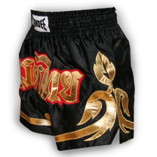 Sandee - Conquest Satin Thai Shorts - Black/Gold - Size XS (For Boxing, MMA, UFC, Muay Thai)