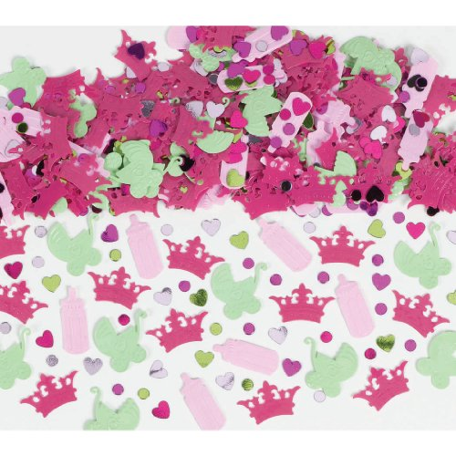 Amscan Baby Shower Party Decoration Pretty Little Princess Confetti, 2-1/2 oz, Pink/Green/Purple - 1