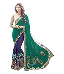 Mati Creation Women's Georgette Saree(Multi-Coloured_Free Size)