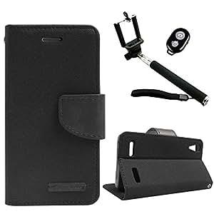 DMG Mercury Goospery Canvas Diary Wallet Folio Book Cover for Lenovo A6000+ (Black) + Handheld Selfie Monopod with Bluetooth Clicker