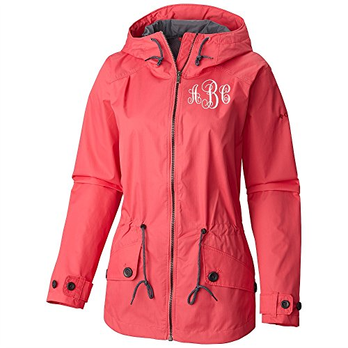 Monogrammed Rain Coat by Columbia in color geranium or black