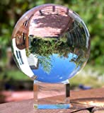 Amlong Crystal Meditation Ball Globe with Free Crystal Stand, 80mm, Clear