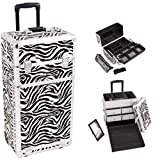 29 Inch Zebra Print Pattern Interchangeable Series Cosmetic Train Case Beauty Supply Holder Makup Travel Tote with 2 In-Line Wheels and Telescoping Tow Handle by Mygift