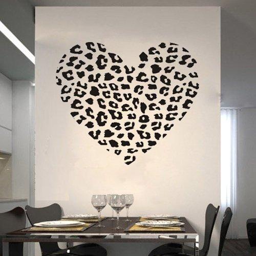 Leopard Cheetah Heart Animal Print Wall Art Decal Sticker Quotes Decor DIY Vinyl Lettering Saying Mural Art Decor Room Home