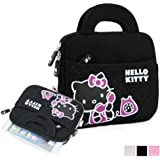 "Hello Kitty Themed Apple iPad Mini / 8"" Tablet Sleeve w/ Handles in Pattern Black (Neoprene, Water Resistant, Branded YKK Zippers, Soft Plush Inner Lining)"