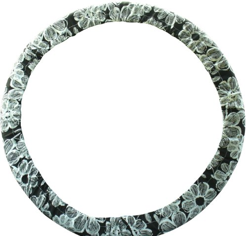 Steering Wheel Cover Store Black White Flowers Print Steering Wheel Cover (White Hubcaps 14 compare prices)