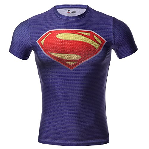 Cody Lundin® Movie Theme Superhero Uomo Sport Manica Corta Tee Fitness Compressione Shirt (XXL, Super Person)