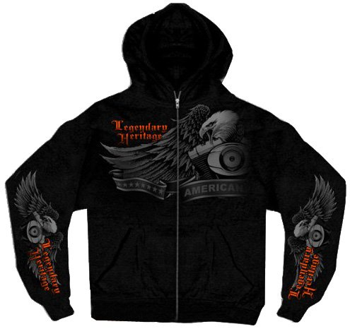Hot Leathers Ghost Eagle Zip Hoodie (Black, Large)