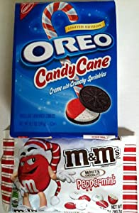 Limited Edition Candy Cane Peppermint Oreos Cookies Plus Peppermint White Chocolate M&M's Candy