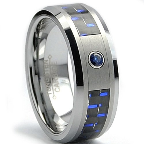 8MM Tungsten Carbide Ring BLUE SAPPHIRE Carat & BLACK/ BLUE Carbon Fiber Inlay Wedding Band Sizes 7 to 13 .050