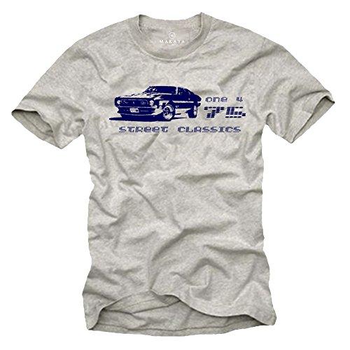 T-Shirt Ford Mustang Maglietta Uomo - Modellino 1975 - grigio M