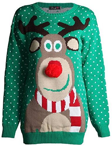 Fashion-Essentials-womens-Unisex-Rudolph-Print-3d-Nose-Pom-Pom-Christmas-Jumper