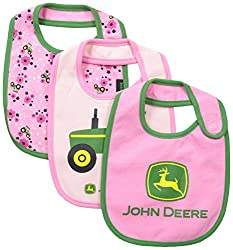 John Deere Baby-Girls Newborn Tractor Bib Set, Medium Pink/Light Pink, One Size