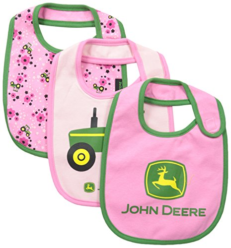 John Deere Baby-Girls Newborn Tractor Bib Set, Medium Pink/Light Pink, One Size