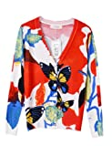 PrettyGuide Women V Neck Butterfly Print Cardigan Cotton Sweater Knitwear