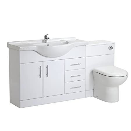 VeeBath Linx 1550 White Bathroom Set 1050 Vanity with WC Unit, D Pan, Cistern