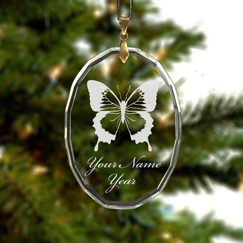 Personalized Oval Crystal Christmas Ornament - Swallowtail Butterfly - Engraved for Free (Crystal Butterfly Ornament compare prices)