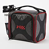 Jaxx FitPak with Portion Control Container Set, Reusable Ice Pack, and Shaker Cup (Black/Red)