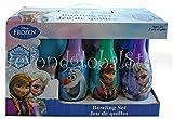 Disney Frozen Elsa Anna Kristoff Olaf and Sven Bowling Set in Display Box 6 Pins and Bowling Ball