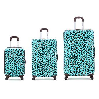Rockland 3 Piece Upright Set, Blue Leopard, One Size