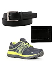 Elligator Gray & Green Stylish Sport Shoes With Belt & Wallet For Men's