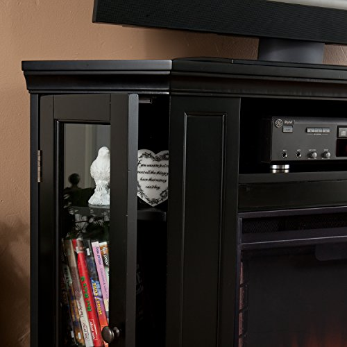 Convertible Electric Fireplace with Cabinet , TV Media Stand Console - Black