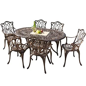 Gardena Cast Aluminum Outdoor Dining Set (Set of 7)