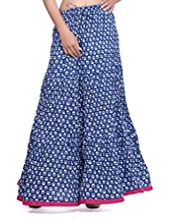 Cotton Blue Printed Panel Skirt With And Pink Mangji