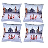 MeSleep Digital Print Indian Tradition With Wonders Of India 4 Piece Cushion Cover Set - Multicolor