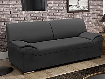 BERGAMO 2er Sofa Couch 2-Sitzer Kunstleder Schwarz