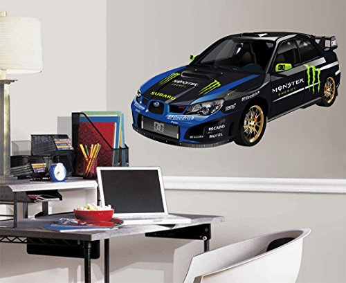 cik626 Full Color Wall decal sports car racing race speed children's bedroom