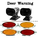 The Nekid Cow Brand 2pk. Deer Warning ALERT Whistle For Cars Vehicle Self Adhesive Animal Whistles ALERTS GUARANTEED - PLUS Small Mini Plastic 4pk Stick On Reflectors Red Amber for Auto, Bikes, Trucks, Cars, Motorcycles [BUNDLE PACK] 2pc Wildlife Wind Activated Ultrasonic Warning SAFETY Whistles AND 4pk. Self Adhesive Red Amber Reflectors - Includes FREE eBook - Satisfaction ASSURED