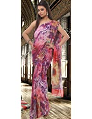 Utsav Fashion Women's Purple and Pink Faux Georgette Saree With Blouse