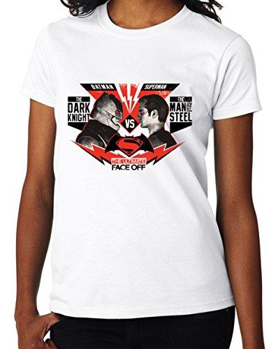 Dark Knight Batman vs Man of Steel Superman Face Off Fan Women DonnaWhite T-shirt