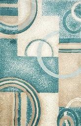 Modern Area Rug Carpet Mat 3 Feet X 2 Feet : Light Blue & White From the Richy-rich Collection