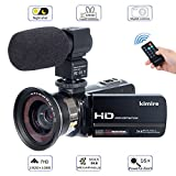 Camera Camcorder Kimire HD 1080P 16X Powerful Digital Zoom Video Camera with Microphone and Wide Angle Lens 3.0 Inch Screen 24 MP Remote Control Infrared Night Vision Recorder (3051STRW-Black)