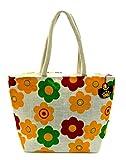 Neska Moda Swachh Bharat Women's Yellow White Floral Jute Shoulder Bag - Made In INDIA